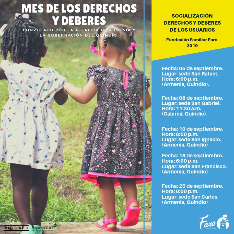 Programación del mes de los Derechos y Deberes de la Fundación Familiar Faro.