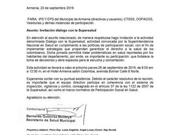 INVITACIÓN AL DIÁLOGO CON LA SUPERSALUD