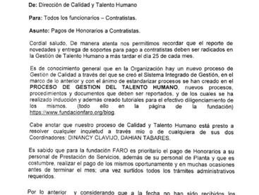 CIRCULAR GTH-003 PAGOS DE HONORARIOS A CONTRATISTAS