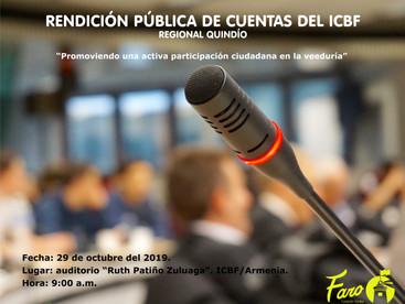 RENDICIÓN PÚBLICA DE CUENTAS DEL ICBF