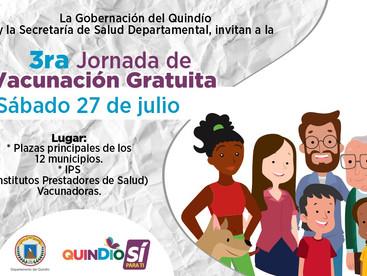 3RA JORNADA DE VACUNACIÓN GRATUITA - GOBERNACION DEL QUINDÍO