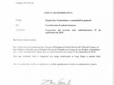 Suspensión del servicio en la sede administrativa Santa Ana