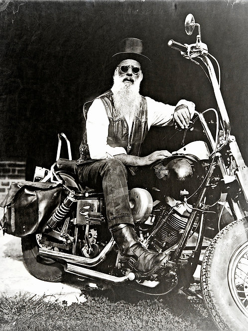 A Wet Collodion Ambrotype portrait of a Badass Harley Rider