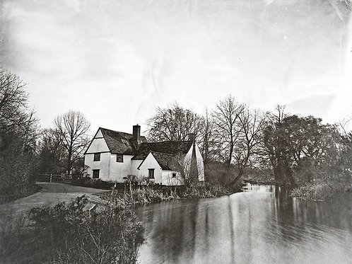 A Wet Collodion Ambrotype print of Will Lott's Cottage Flatford Mill in Winter