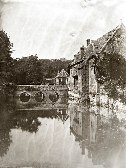 A Wet Collodion Ambrotype print of the Moat at Kentwell Hall, Long Melford.