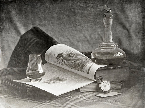 A Wet Collodion Ambrotype still life print of a Scotch Decanter