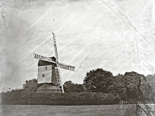 A Wet Collodion Ambrotype print of Mountnessing Windmill.
