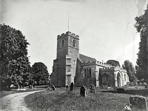 A Wet Collodion Ambrotype print of Acton Church, Suffolk