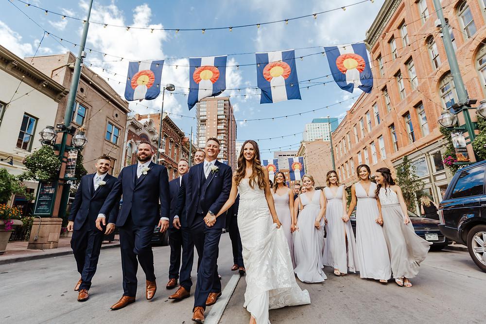 wedding party on Larimer Street in Denver, CO