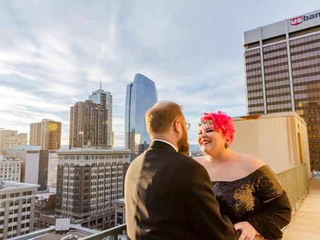Downtown Denver COUPLES session at Magnolia Hotel   Colorado Engagement Photography   Katie + Corey