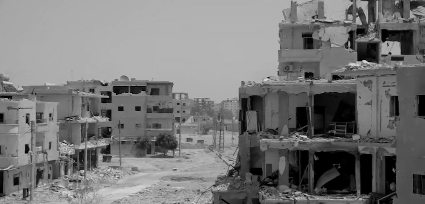 Destroyed neighborhood in Raqqa in August 2017