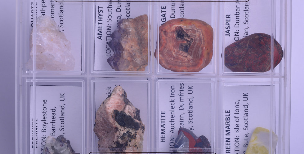Set nr 1 - 8 CLASSIC SCOTTISH MINERALS in a box