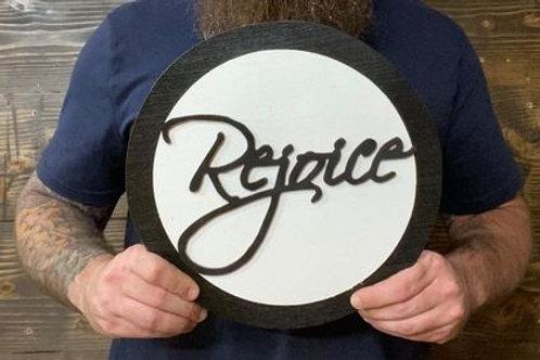 "Handmade 12"" Rejoice Circle Sign"