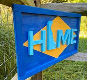 "Medium Blues & Yellow Delaware Sign ""Home"""