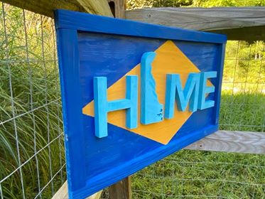 "Medium Blues & Yellow Delaware Sign ""Home"""
