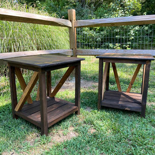 Dark Brown End Tables w/ One Shelf & Light Brown Accents
