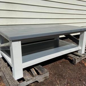 Weathered Gray Coffee Table w/ Chunky Legs & One Shelf
