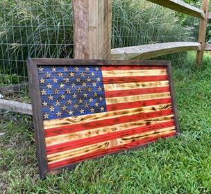 Medium American Flag w/ Dark Brown Frame