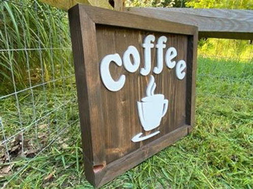 "Handmade Large Wooden Sign Reading ""Coffee"""