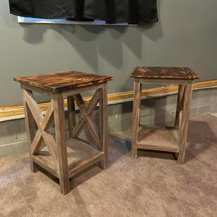 Charred & Distressed Brown Endtables w/ One Shelf & Accents