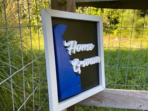 "Handmade Wooden Sign reading ""Home Grown"""