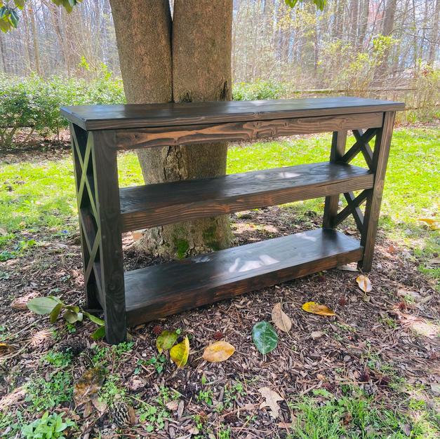 Dark Walnut Entryway Table w/ Two Shelves