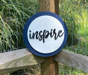 "12"" Navy & White Circle Sign ""inspire"""