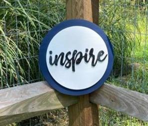 "12"" Navy & White Circle Sign ""inspire"""
