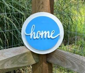 "10"" White & Light Blue Circle Sign ""home"""