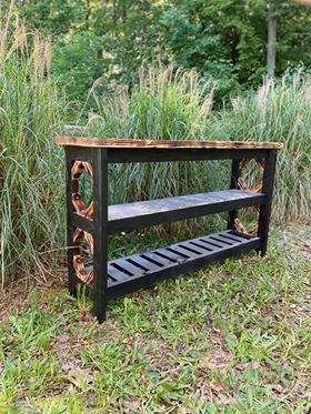 Charred & Black Entryway Table w/ Two Shelves