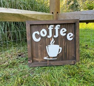 """Large Brown & White Sign """"Coffee"""""""