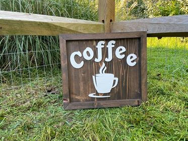 "Large Brown & White Sign ""Coffee"""