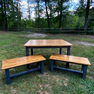 Golden Oak & Aged Barrel Dining Table w/ Matching Benches