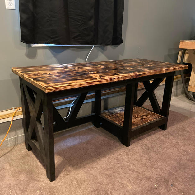 Charred & Black Desk w/ One Shelf & Accents