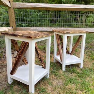 Charred & White Endtables w/ Side Accents & One Shelf