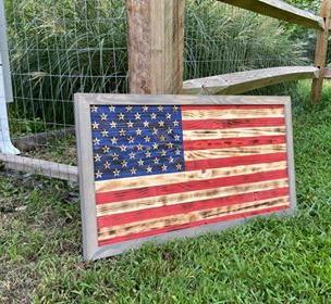 Medium American Flag w/ Weathered Gray Frame