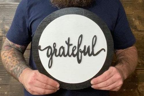 "Handmade 12"" Grateful Circle Sign"