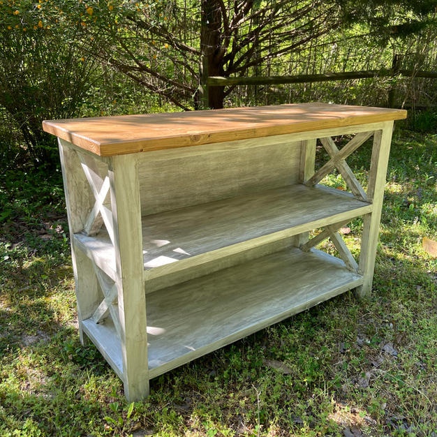 Golden Oak & Distressed White Entryway Console w/ Two Shelves