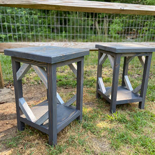 Weathered Gray Endtables w/ One Shelf & Distressed Accents