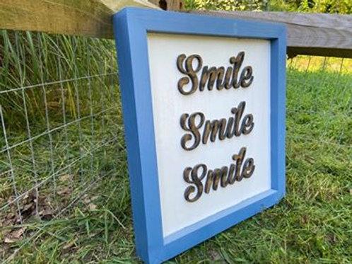 "Handmade Wooden Large Sign Reading ""Smile  Smile Smile"""