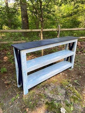 Navy & Distressed White/Blue Entryway Console w/ Two Shelves