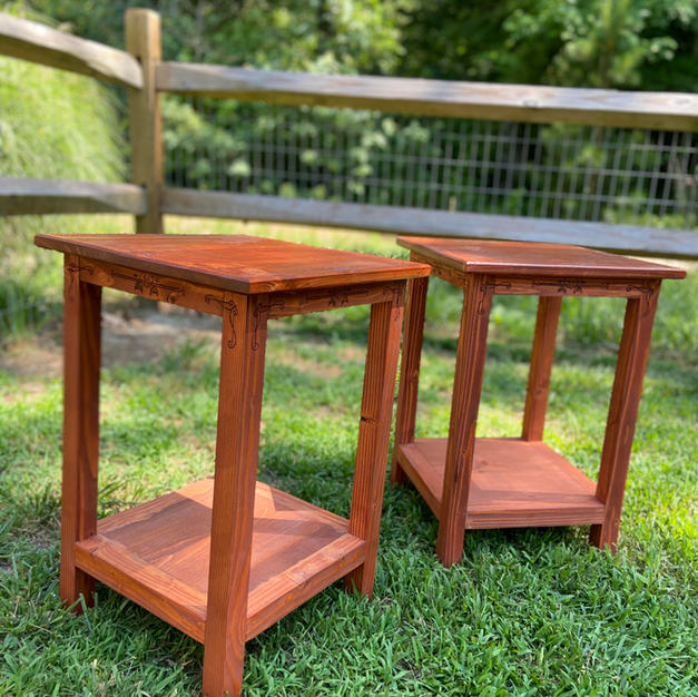 Gunsock Finished Endtables w/ One Shelf and Hand Carved Accents