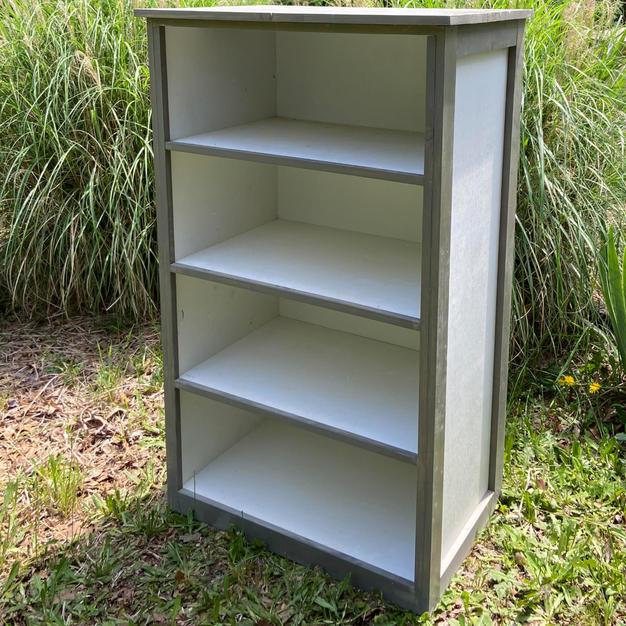 Gray & White Four Shelf Book Shelf
