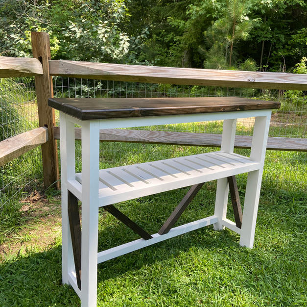 Brown & White Entryway Console w/ One Shelf