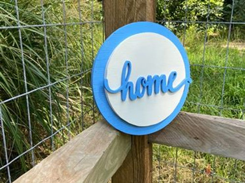 """Handmade Wooden Circle Sign Reading """"Home"""""""