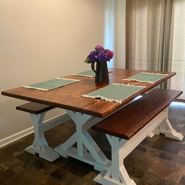 English Chestnut & White Dining Table w/ Matching Benches