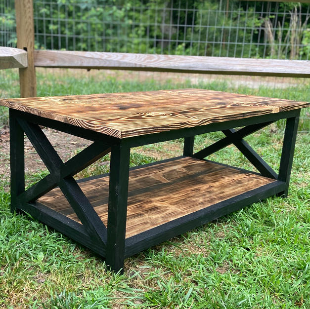 Charred & Black Coffee Table w/ Accents & One Shelf
