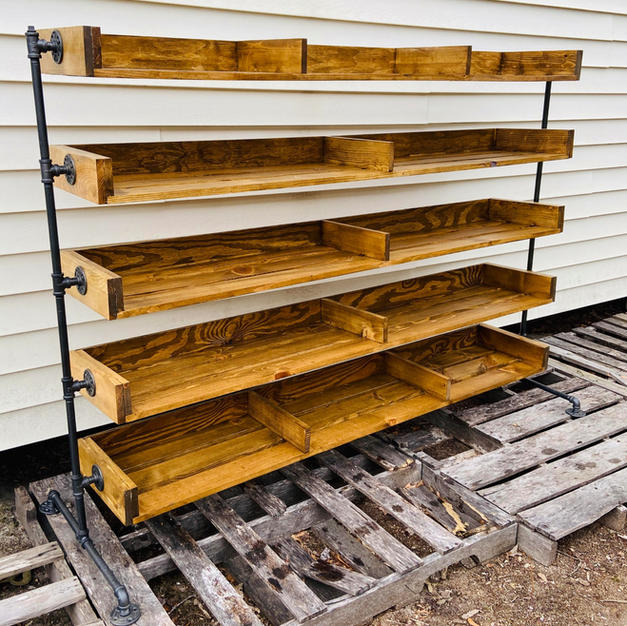 Golden Oak & Industrial Piping Five Shelf Shoe Rack