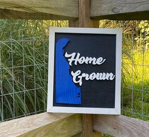 """White & Black Small Sign """"Home Grown"""""""