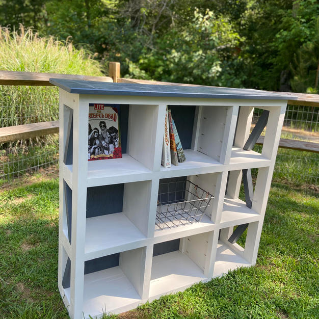 Gray & White Cubicle Storage Hutch w/ Accents